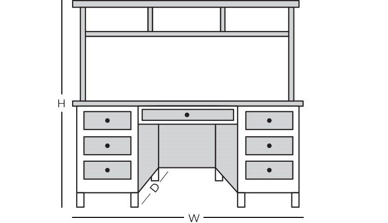 Dimensions - Desk with Hutch