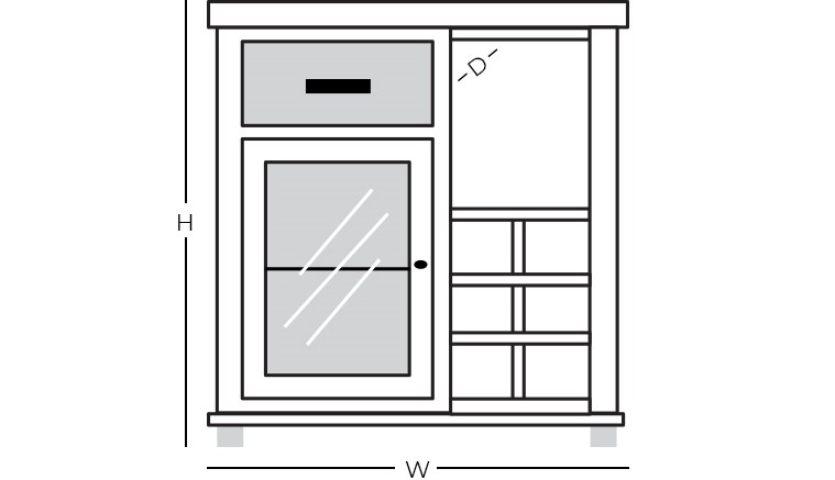 Dimensions - Bar Cabinet