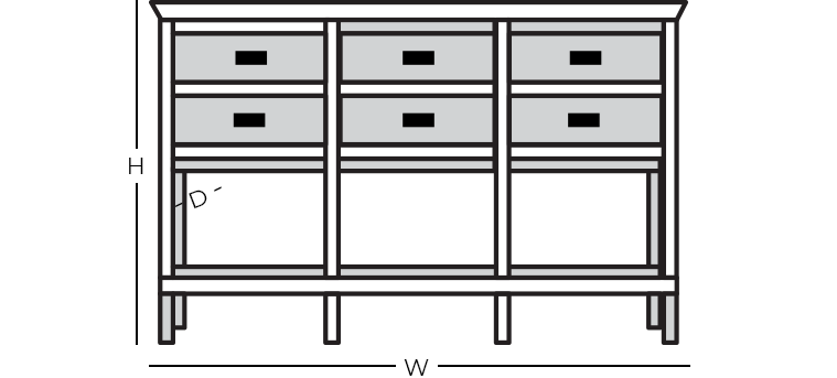 Dimensions - Sideboard with Tall Legs