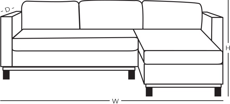 Dimensions - Stationary Sofa Chaise