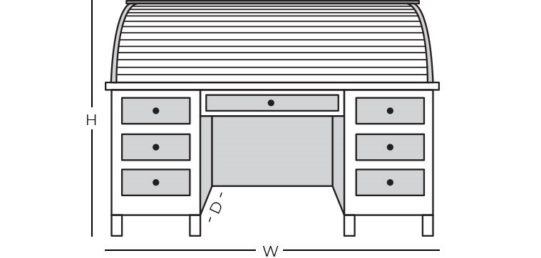 Dimensions - Roll Top/Secretary Desk