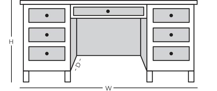 Dimensions - Double Pedestal Desk