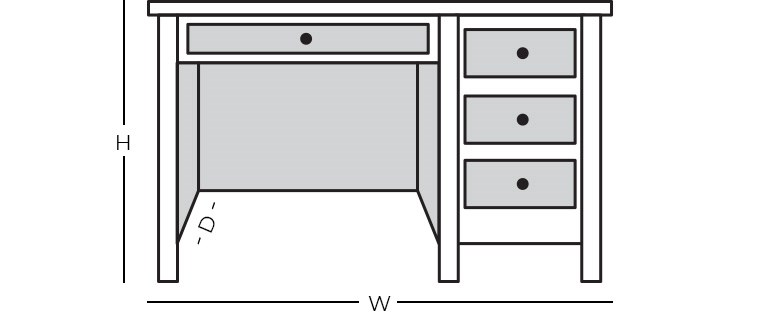 Dimensions - Single Pedestal Desk
