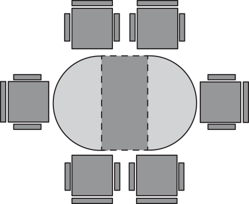 diagram of oval table and six chairs
