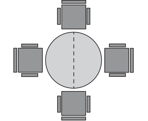 diagram of rounde table and four chairs