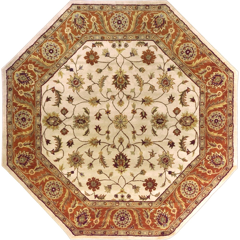 Octagon Shaped Rug with Traditional Design