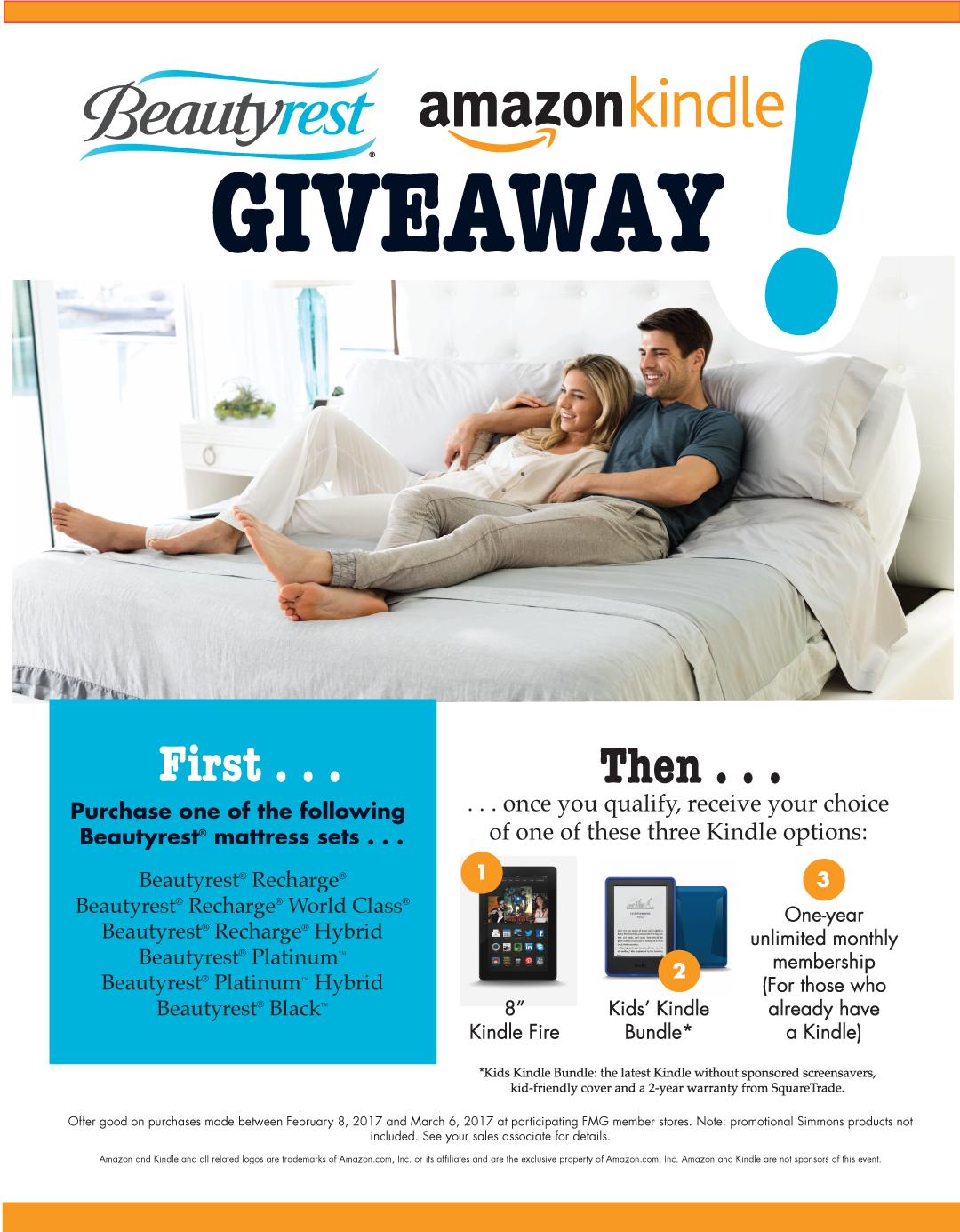 Beautyrest Amazon Kindle Giveaway at !Dealername