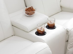 Reclining Loveseat with Snack and Drinks in Cupholders
