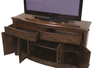 TV Stand with Open Doors and Drawers