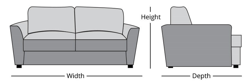 sofa height width depth measruing guide