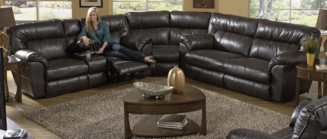 Plush, Brown Catnapper Sectional