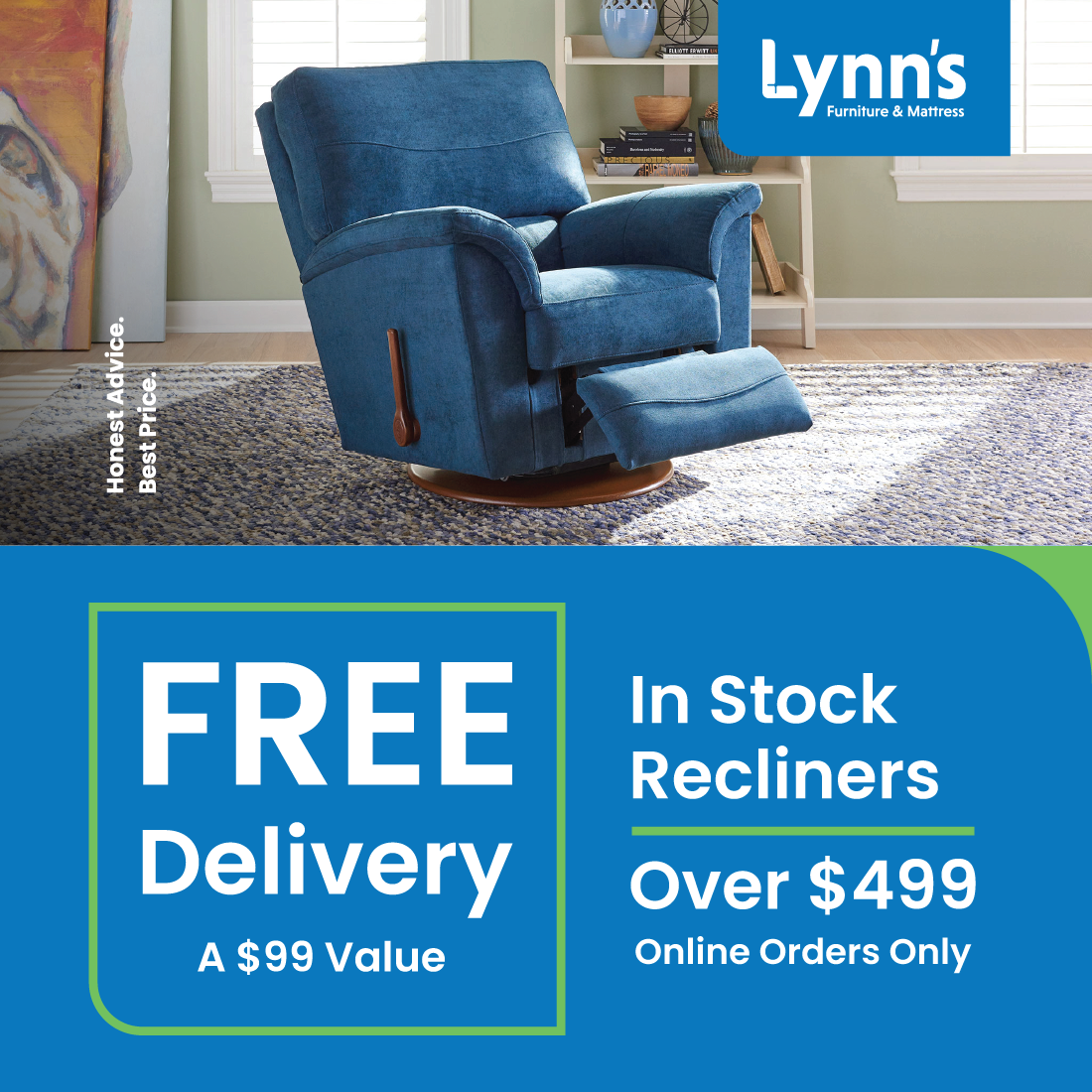 Free Delivery of In Stock Recliners Over $499. (Online orders only.)