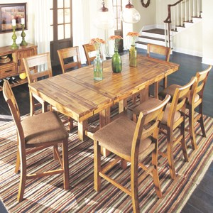 Dining Room with counter height table and charis