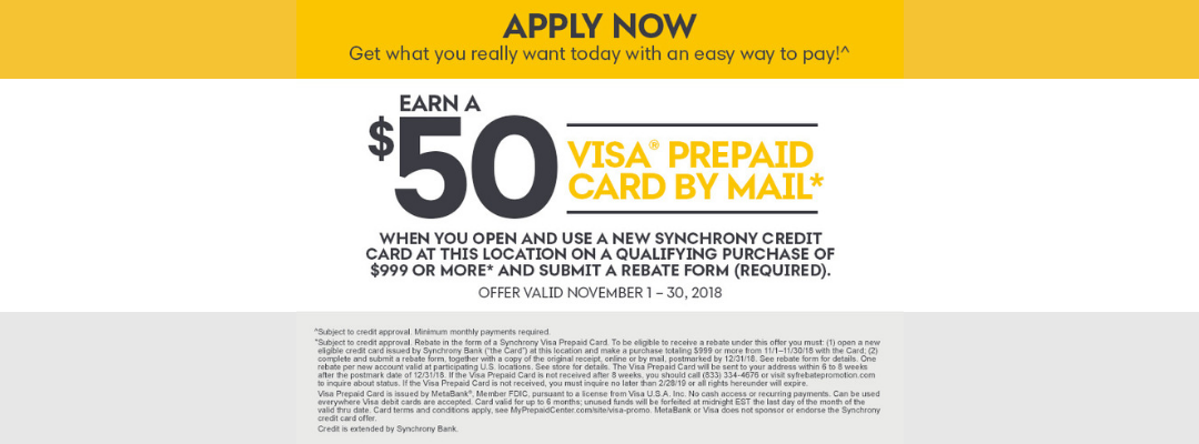 Earn a $50 Visa Prepaid Card By Mail with Qualifying Purchase