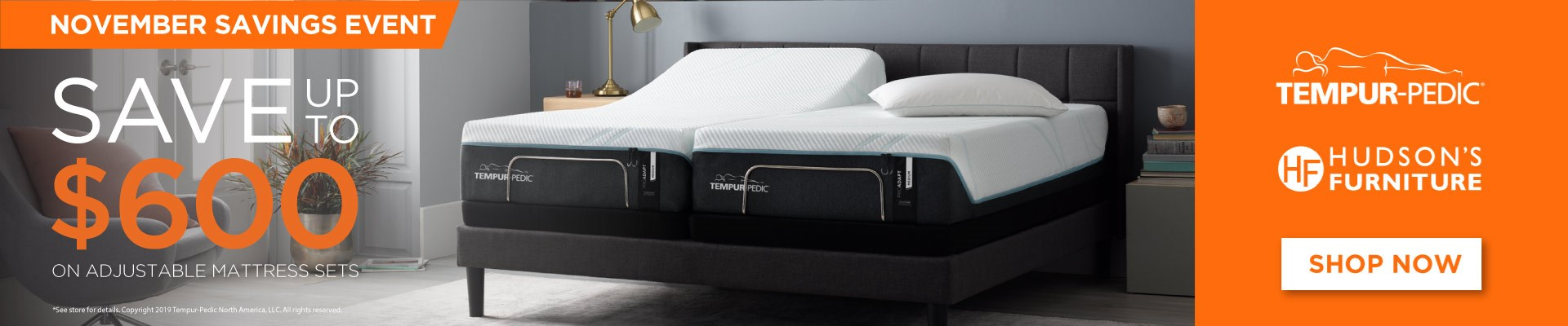 Save up to $600 Dollars on Select Tempur-Pedic Products