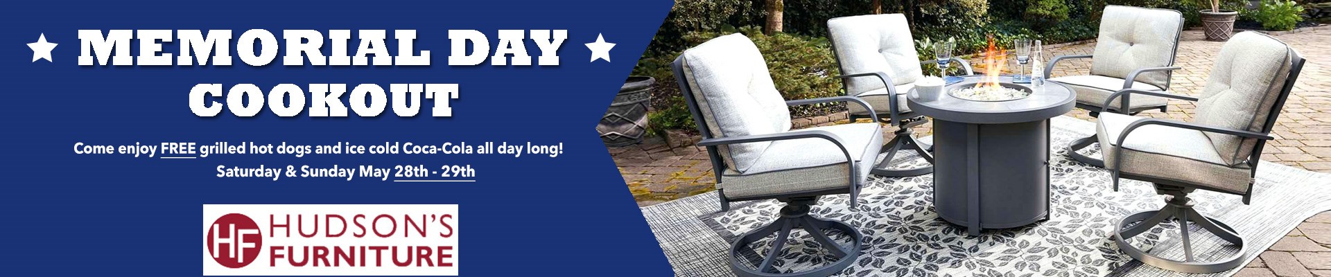 Memorial Day Furniture Sale at Hudson's Furniture Free Food All Day