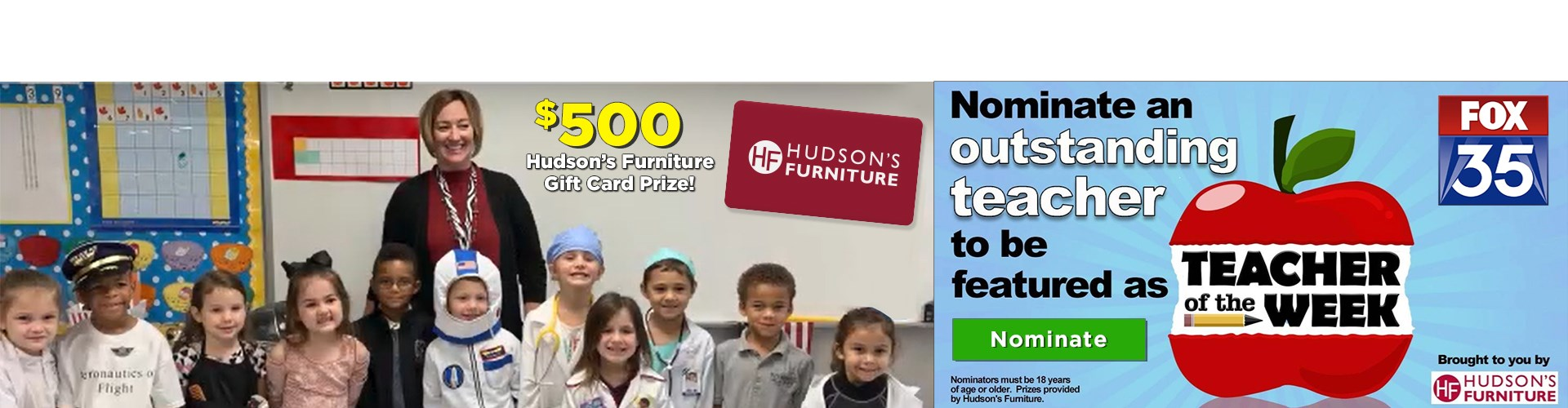 Nominate Your Best Teacher To Get a $500 Dollar Hudson's Gift Card