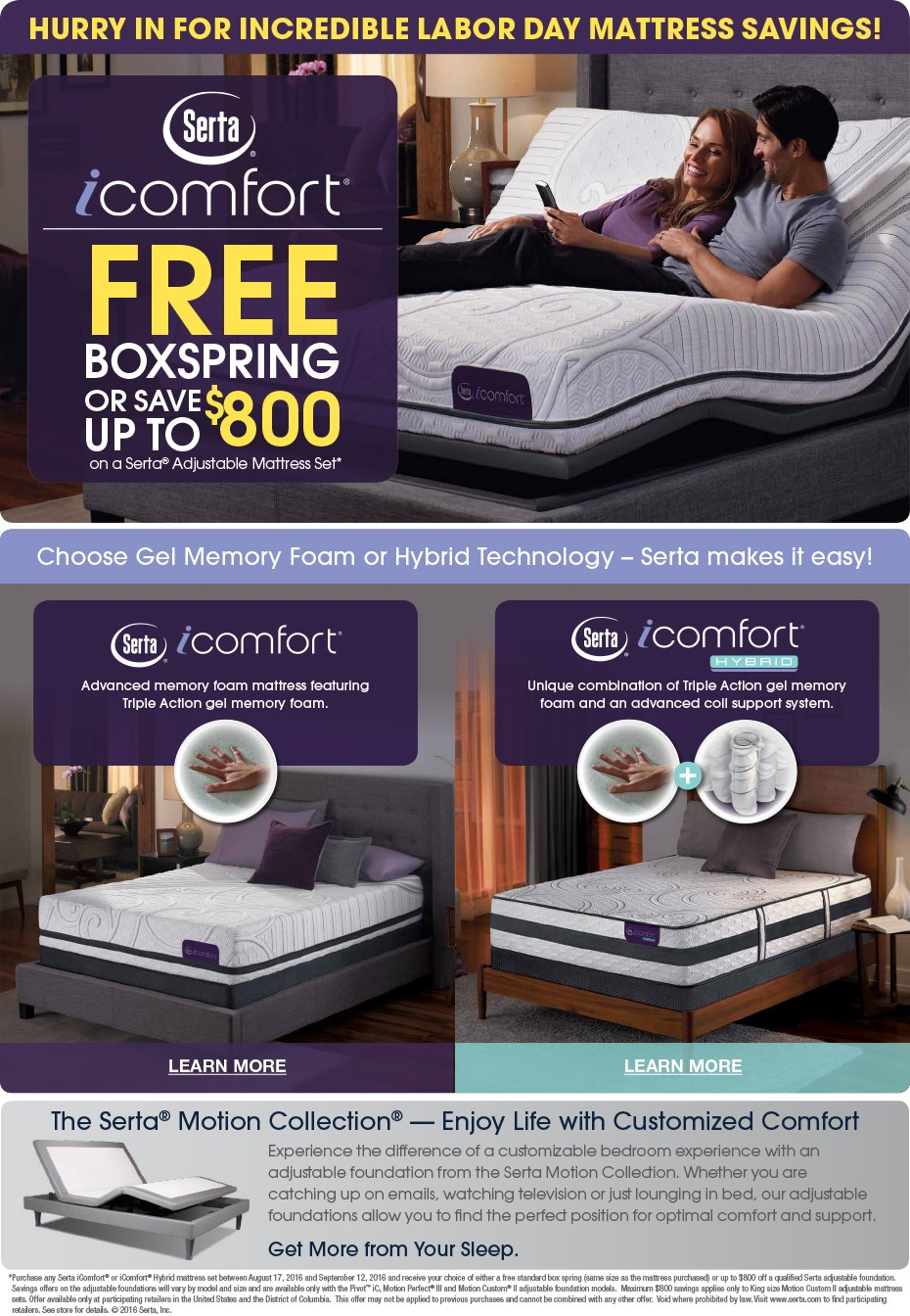 Serta iComfort Labor Day Sale!
