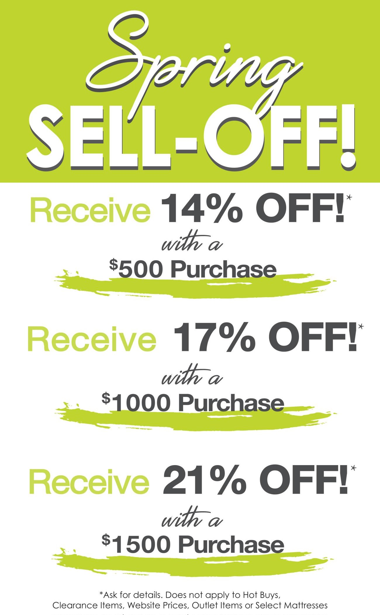 Spring Sell Off going on NOW!