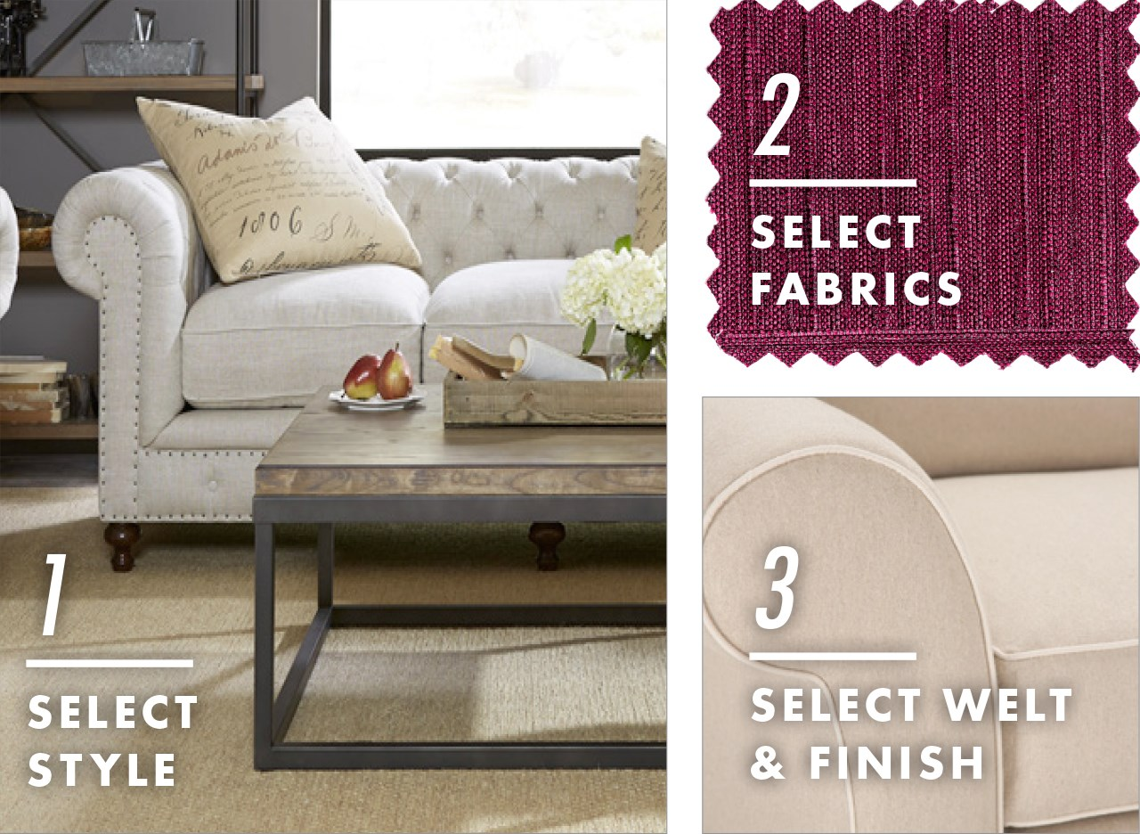 choose styles, fabrics, welt, and finish to customize a piece