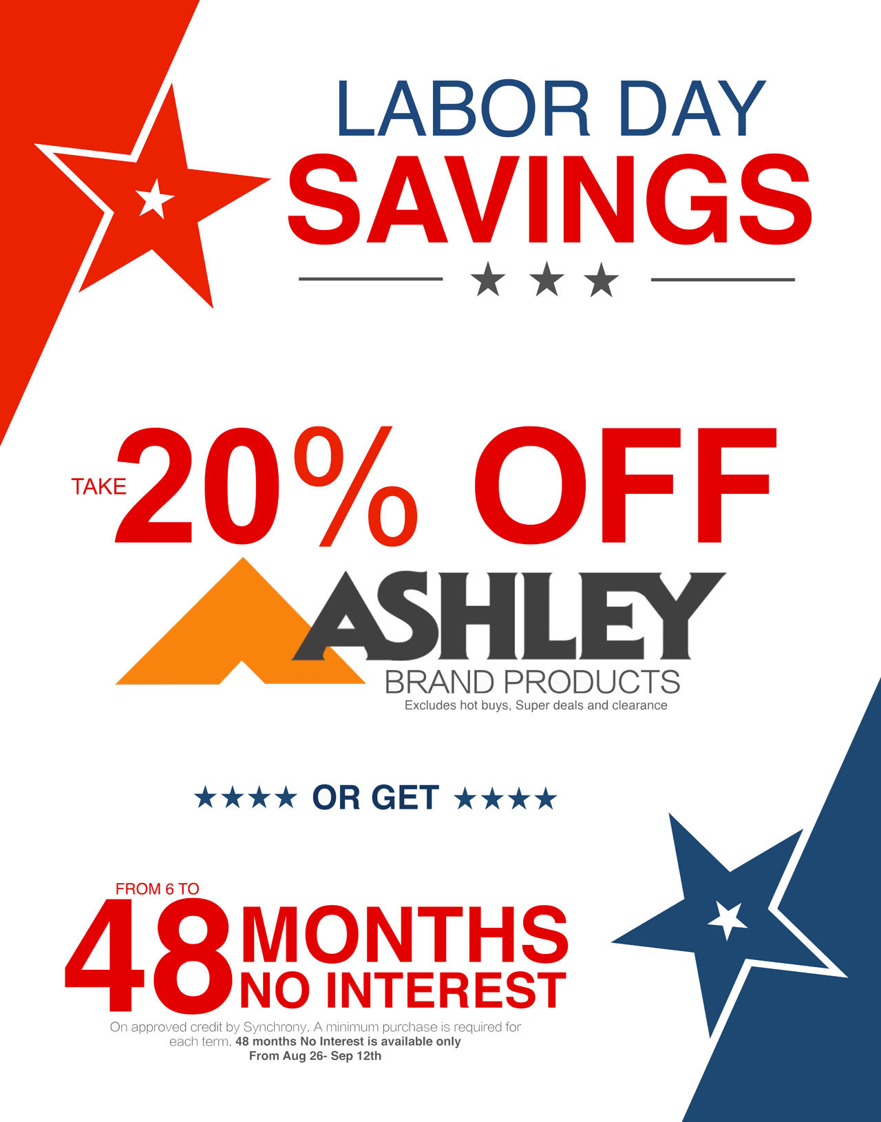Labor Day Sale 20% Off Ashley Furniture