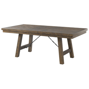 rustic brown dining table with 18 inch leaf