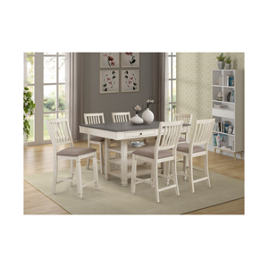 white table with grey top and white chairs with grey cushions