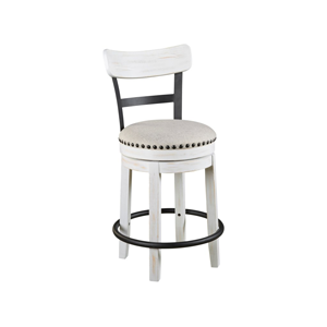 white bar stool with a grey cushion