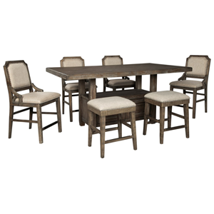 distressed brown table and chair set with grey cushions