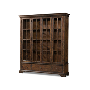 brown wooden china cabinet with glass doors