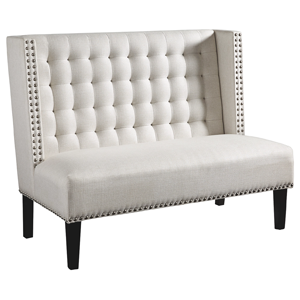 grey upholstered bench
