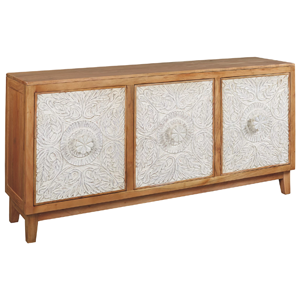light brown wooden cabinet with white pattern on doors