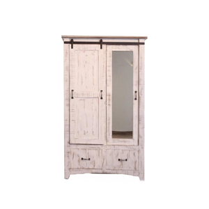 white armoire with sliding barn door
