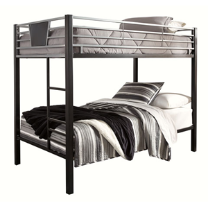 silver bunk bed with grey sheets