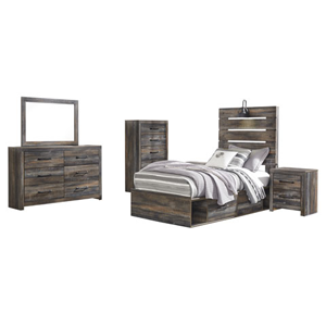 kids bedroom with brown wooden furniture set