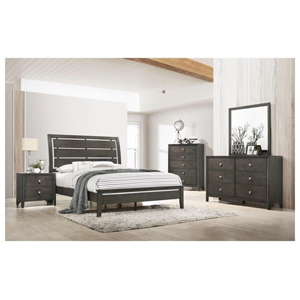 master bedroom with brown furniture set