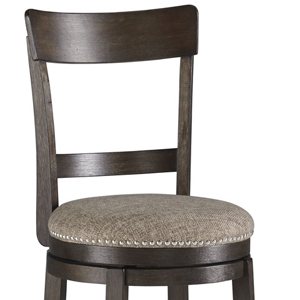 Brown barstool with grey cushion