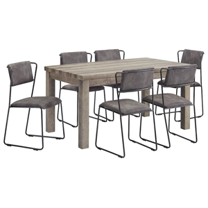 Grey wooden table with grey upholstered chairs
