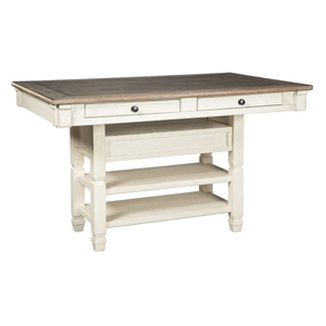 White table with drawer and wooden top