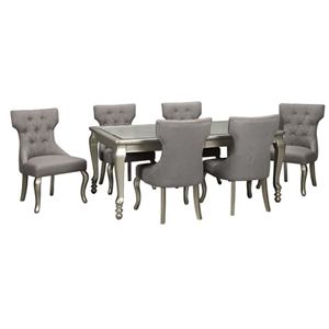 Silver table with grey upholstered chairs