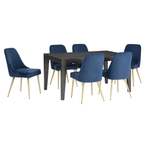Dark brown wooden table with blue chairs