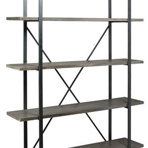 Metal and wooden bookshelf