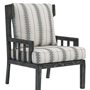 Dark grey wooden chair with white upholstery