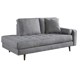 Grey upholstered chaise lounge