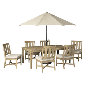 white and beige outdoor dining set