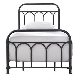 black metal bed with white bedding