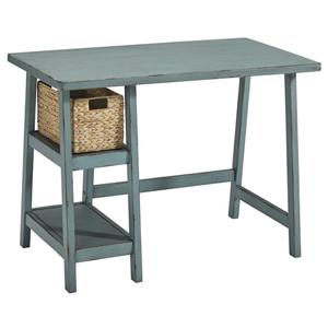 grey wooden desk with wicker basket