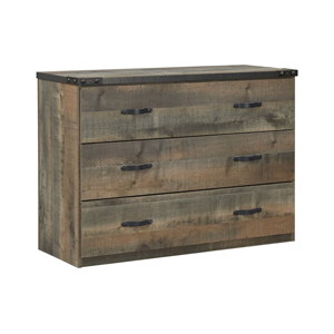 wooden dresser in various shades of brown