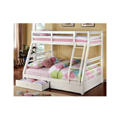 white bunk bed with blue pink green and white sheets
