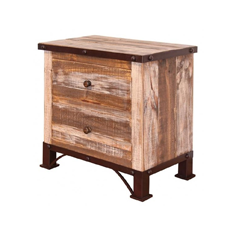 wooden nightstands in various shades of brown